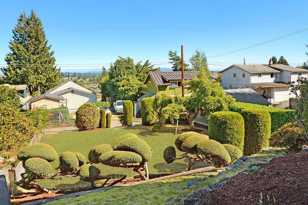 Flanked by meticulously manicured mature juniper bushes and twin arbovitae trees, a path winds down to the sunny, level fenced yard below, past a mature fruit-bearing plum tree offering succulent summertime snacks, and out to convenient alley access.